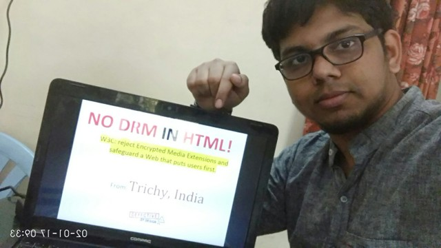 Image for Trichy, India: Selfie against DRM in Web standards