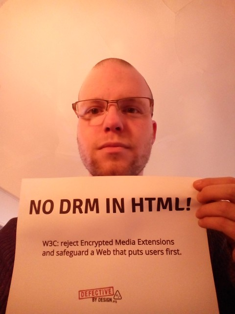 Image for At the W3C office in Paris, France -- Selfie against DRM in Web standards